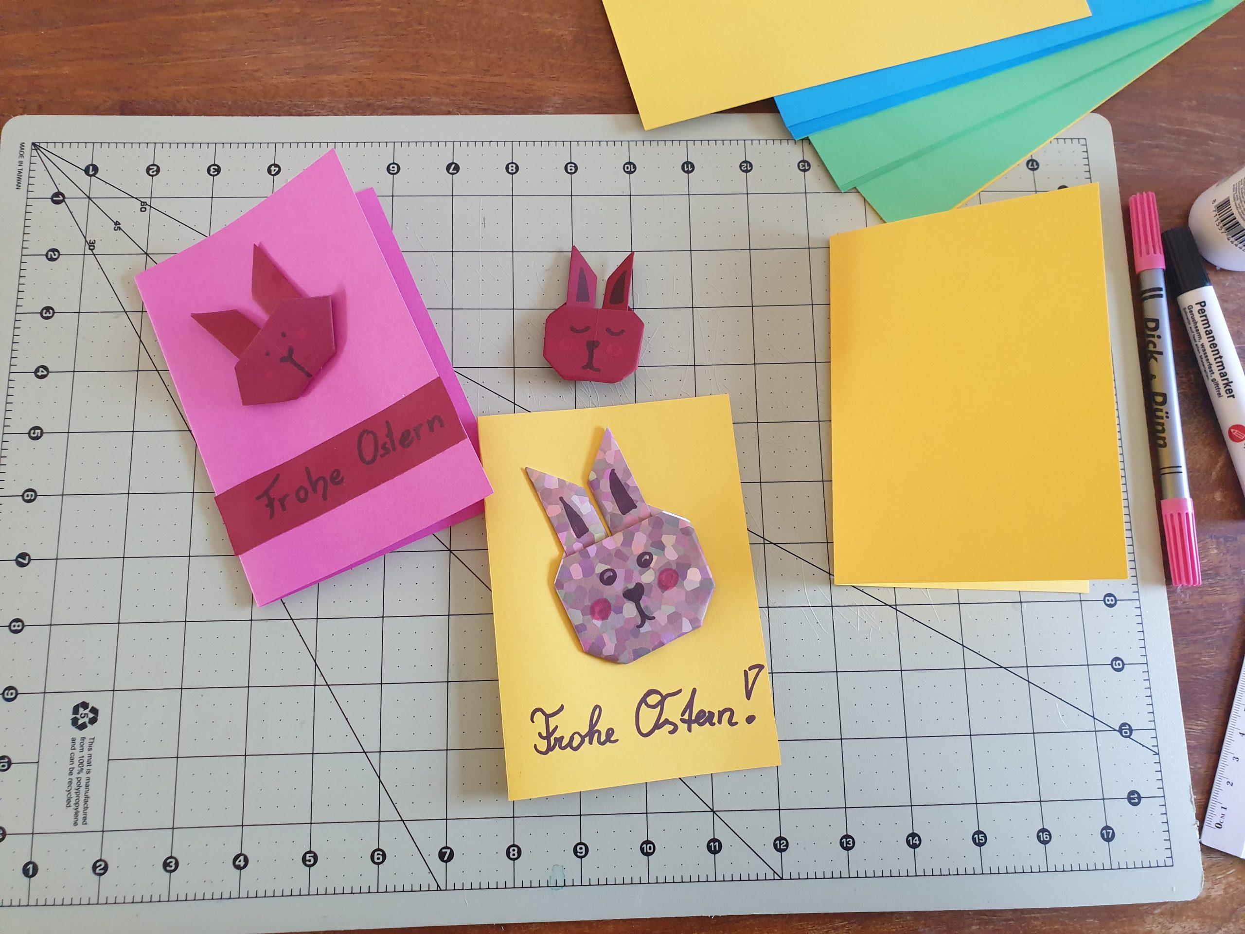 Einfache Origami-Osterkarte