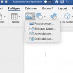 """Klicke auf """"Einfügen"""" und suche """"Bild aus Datei"""", dann wähle dein Bild aus und drücke Eingabe."""
