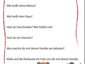 """2 Portfolioblätter zum Thema """"Meine Familie"""""""
